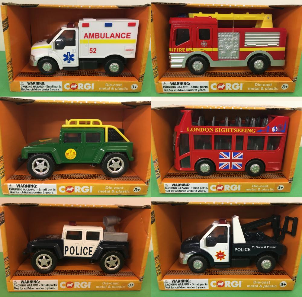 Corgi chunky collectable vehicles. ambulance, fire engine, truck, London bus, police trucks